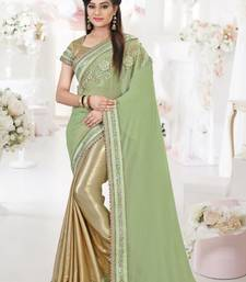 Buy Green embroidered silk blend saree with blouse wedding-saree online