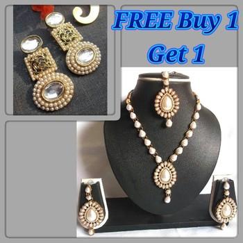 Buy 1 get1 free white pearl kundan necklace set