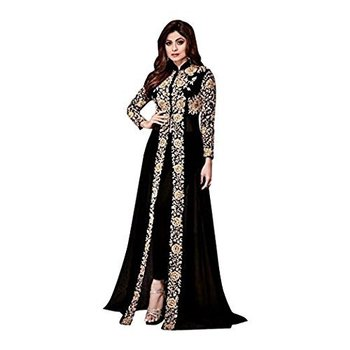 Black embroidered georgette Semi Stitched Salwar Suit with Dupatta