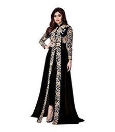 Buy Black embroidered georgette Semi Stitched Salwar Suit with Dupatta anarkali-salwar-kameez online