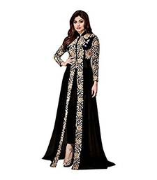 Buy Black embroidered georgette Semi Stitched Salwar Suit with Dupatta wedding-salwar-kameez online
