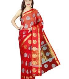 Buy Red plain cotton saree with blouse kota-saree online