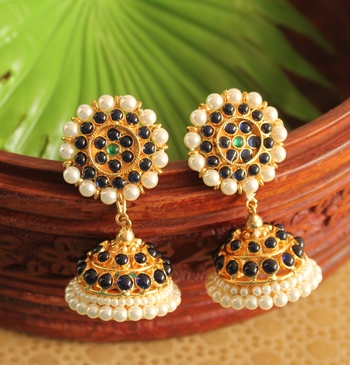 Gorgeous Gold Plated Blue Real Kemp Stone Screw Back Jhumka