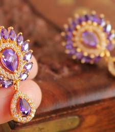 Lovely Gold Plated Cz Purple Stud