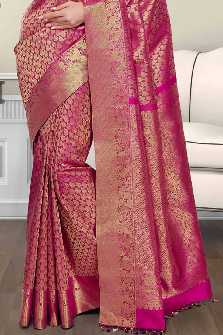 Buy Pink Silk Brocade Zari Weaved Saree In Golden Border