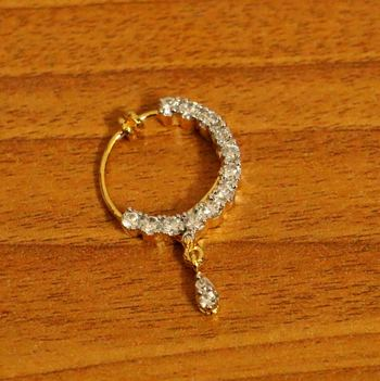 Gold Plated Diamond Look Pressable Nose Ring