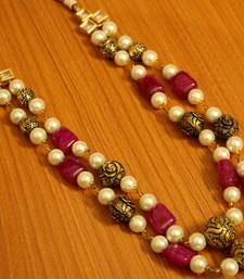 Ruby Antique Gold Bead Necklace