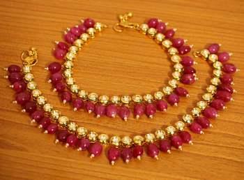 Kundan Meenakari Ruby Wedding Anklets