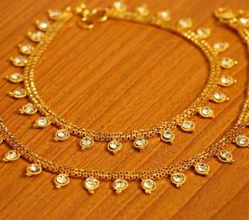 Zircon Studded Gold Plated Fine Anklets