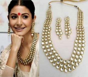 Designer Traditional White Diamond Long Necklace Set