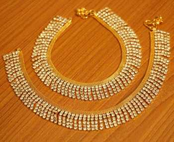 Gold Plated Zircon Studded Party Wear Anklets