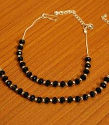 Silver Plated Black Bead Anklets