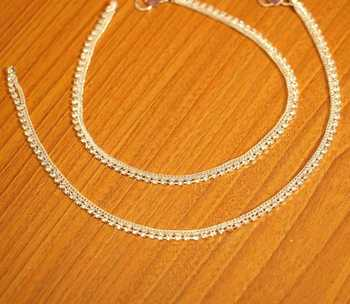 Silver Plated Zircon Studded Anklets