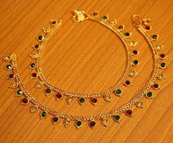 Multicolour Gold Plated Zircon Studded Anklets