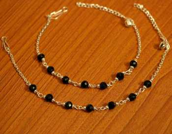 Black Beads Silver Look Light Weight Anklets
