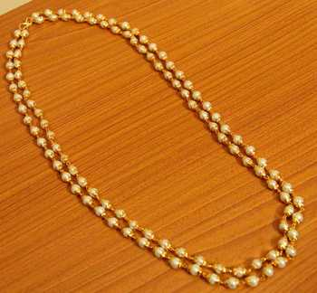 Pearl Gold Look Double Line Necklace