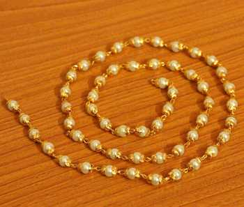 Pearl Gold Look Single Line Necklace