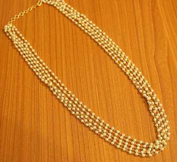 Gold Plated Pearl Ethnic 5 Line Necklace