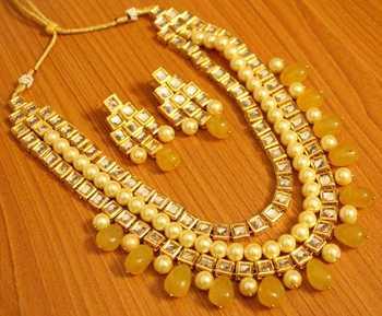 Kundan Meenakari Pearl  And  Yellow Onyx Necklace Set