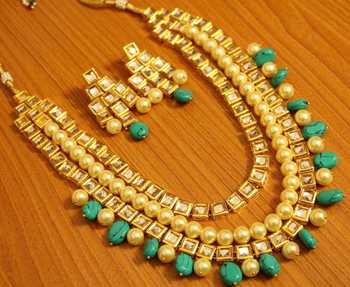 Turquoise  and  Pearl Kundan Meenakari Necklace Set