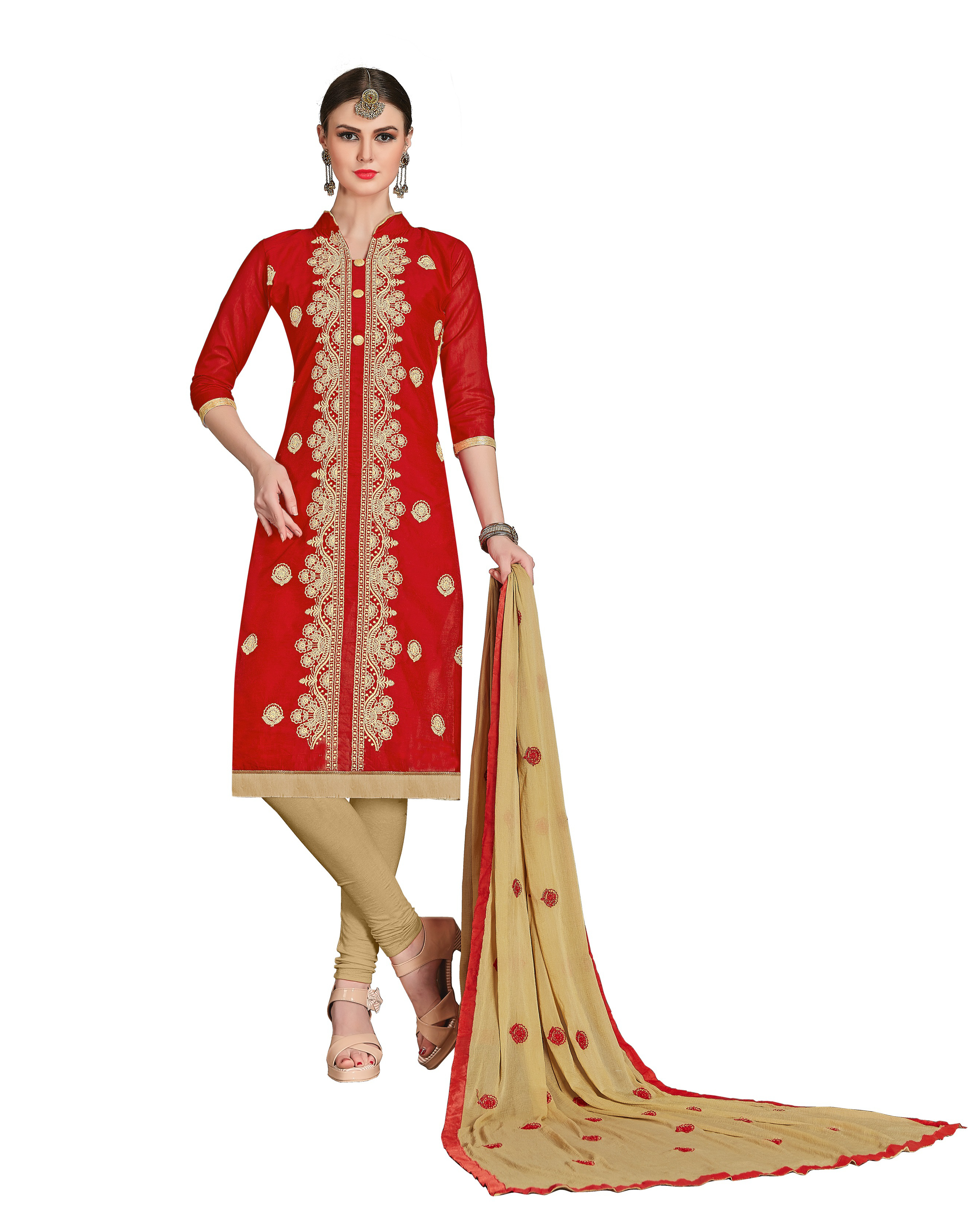 01faaa022 women Chanderi red embroidery party wear unstiched salwar suit with dupatta  - DnVeens - 2465646