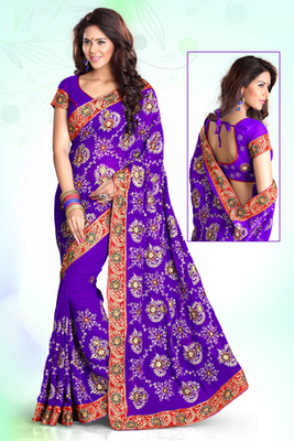 Purple Emrboidered Georgette Party Wear Saree With Blouse Piece