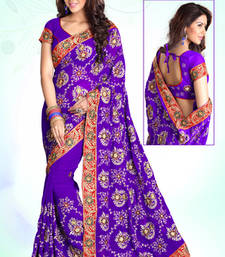 Buy Purple Emrboidered Georgette Party Wear Saree With Blouse Piece heavy-work-saree online