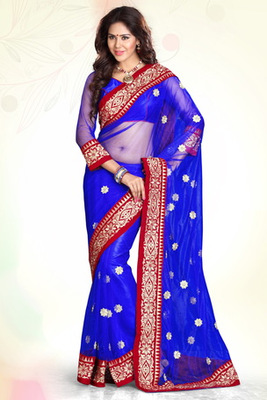 Blue Embroidered Net Party Wear Saree Saree With Blouse Piece