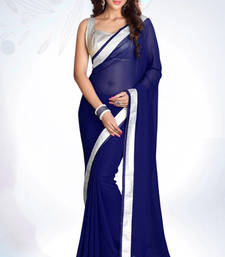 Buy Navy blue Emrboidered Georgette Party Wear Saree With Blouse Piece