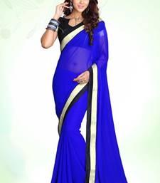 Buy Royal blue Georgette Designer Saree