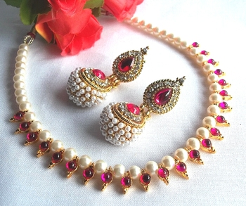 Dark pink Gota pearl necklace set
