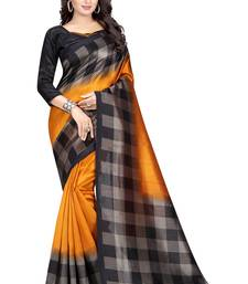 Mustard printed bhagalpuri silk saree with blouse