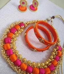 Buy Orange diamond necklace-sets necklace-set online