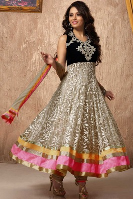 Trendy BlackVelvet &Beige Printed net Flared Anarkali with kundan work