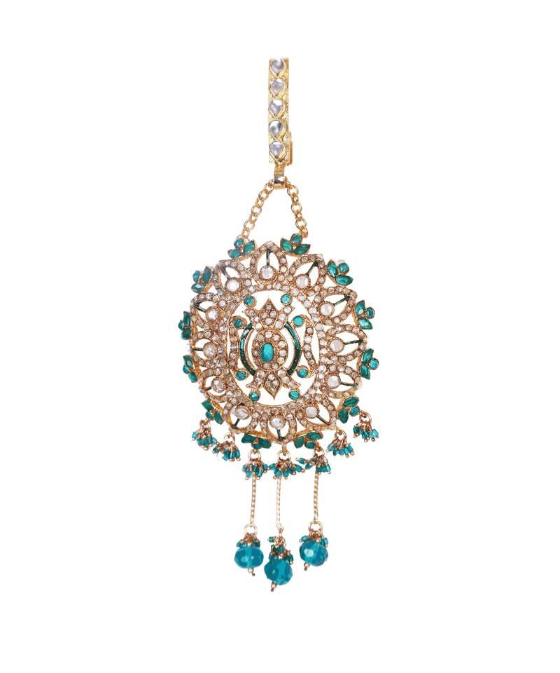 Kanjivaram Beads: Blue Gold Beads Polki Ethnic Challa Waist Key Chain Satka