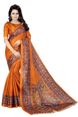 Mustard printed art silk sarees saree with blouse