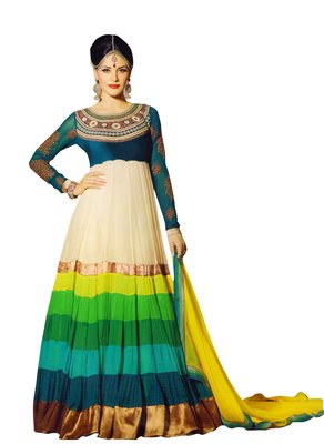 Multicolor embroidered georgette salwar