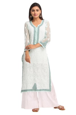Sea Green Embroidered Faux Georgette Chikankari Kurti