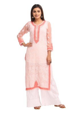 Peach Embroidered Faux Georgette Chikankari Kurti