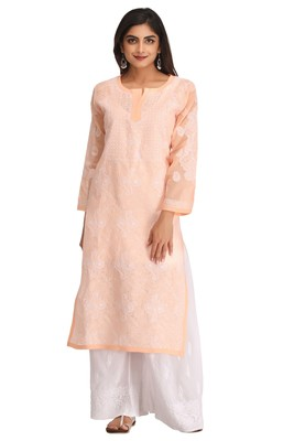 Peach Embroidered Cotton Chikankari Kurti