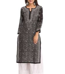 Black embroidered cotton chikankari-kurtis