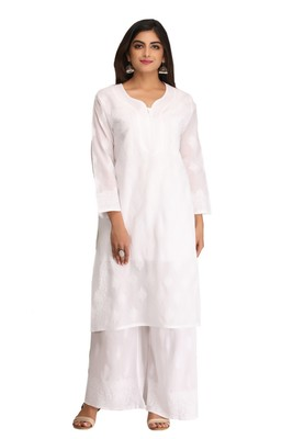 White embroidered cotton chikankari-kurtis