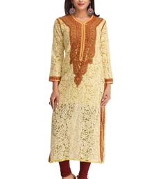 Buy Yellow embroidered faux georgette chikankari-kurtis chikankari-kurtis online