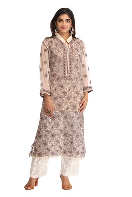 Fawn embroidered faux georgette chikankari-kurtis