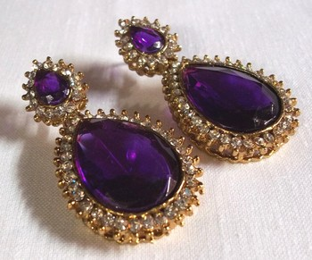 Pearl stone drop purple earring