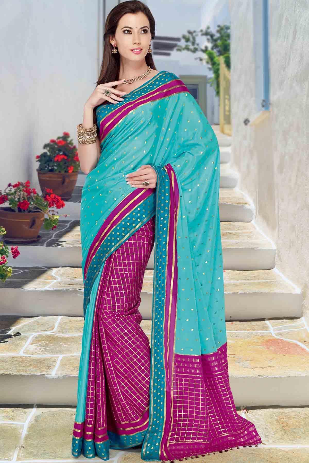 f0fd9787f909a7 Sky Blue   Pink crepe silk weaved saree in multi colour border ...