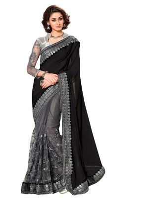 Black  and  silver designer embroidered party wear saree with blouse piece