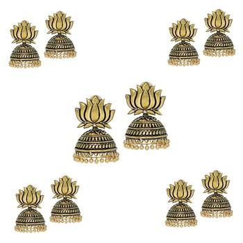 Handmade Gold Plated Lotus Shape Oxidised Jhumki (Set Of 5 Pairs)