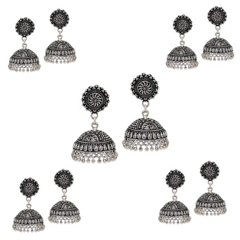 Splendid Flower Design Silver Oxidised Metal Jhumki Earring For Women And Girls (Set Of 5 Pairs)