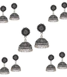 Splendid Flower Design Silver Oxidised Metal Jhumki Earring For Women And Girls (Set Of 5 Pairs)